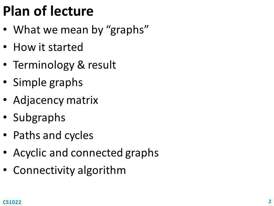 Plan of lecture What we mean by graphs How it started Terminology & result Simple graphs Adjacency matrix Subgraphs Paths and cycles Acyclic and connected graphs Connectivity algorithm 2 CS1022
