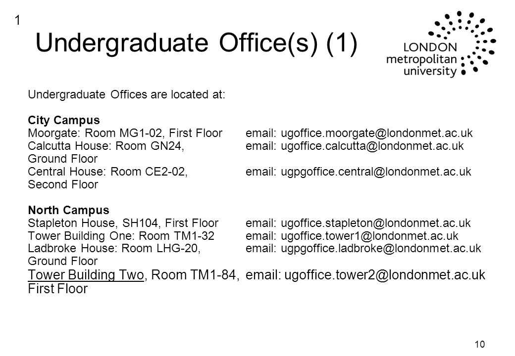 10 Undergraduate Office(s) (1) Undergraduate Offices are located at: City Campus Moorgate: Room MG1-02, First Floor  Calcutta House: Room GN24,   Ground Floor Central House: Room CE2-02,  Second Floor North Campus Stapleton House, SH104, First Floor  Tower Building One: Room TM1-32  Ladbroke House: Room LHG-20,   Ground Floor Tower Building Two, Room TM1-84,   First Floor 1