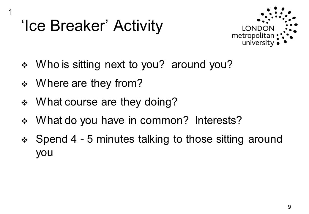 9 'Ice Breaker' Activity v Who is sitting next to you.