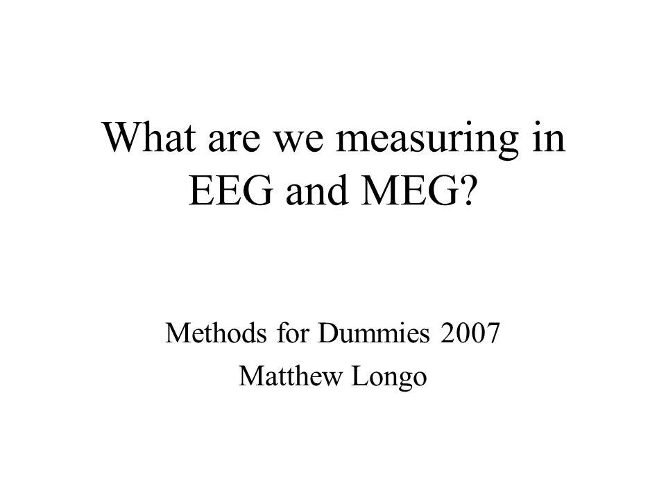 What are we measuring in EEG and MEG? Methods for Dummies 2007 Matthew Longo