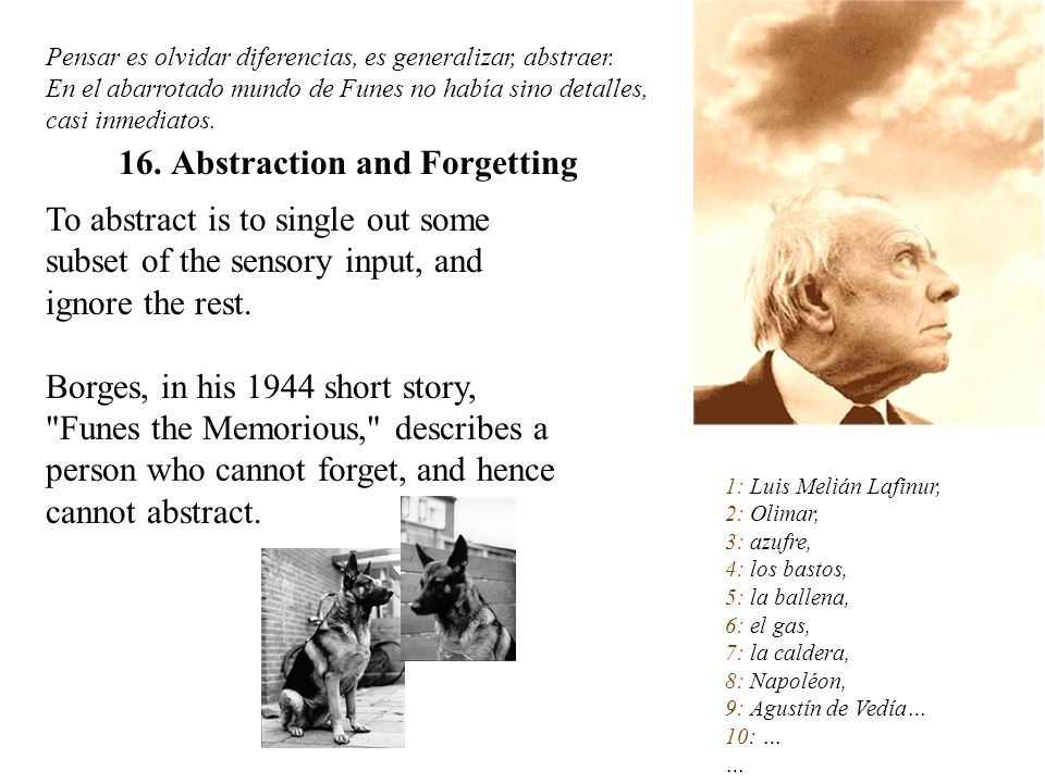 To abstract is to single out some subset of the sensory input, and ignore the rest. Borges, in his 1944 short story,