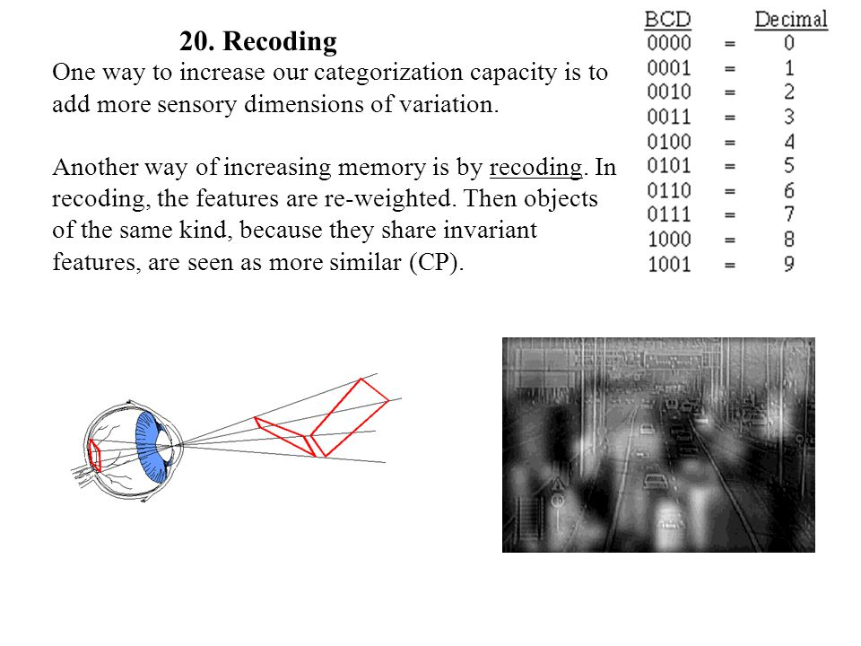 One way to increase our categorization capacity is to add more sensory dimensions of variation. Another way of increasing memory is by recoding. In re