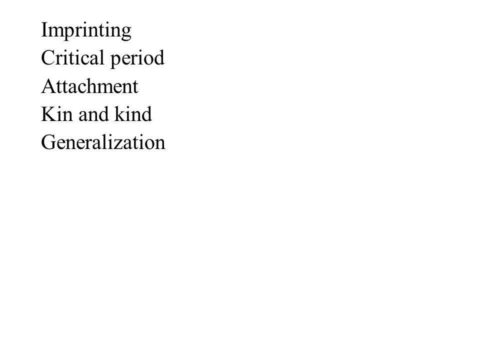 Imprinting Critical period Attachment Kin and kind Generalization