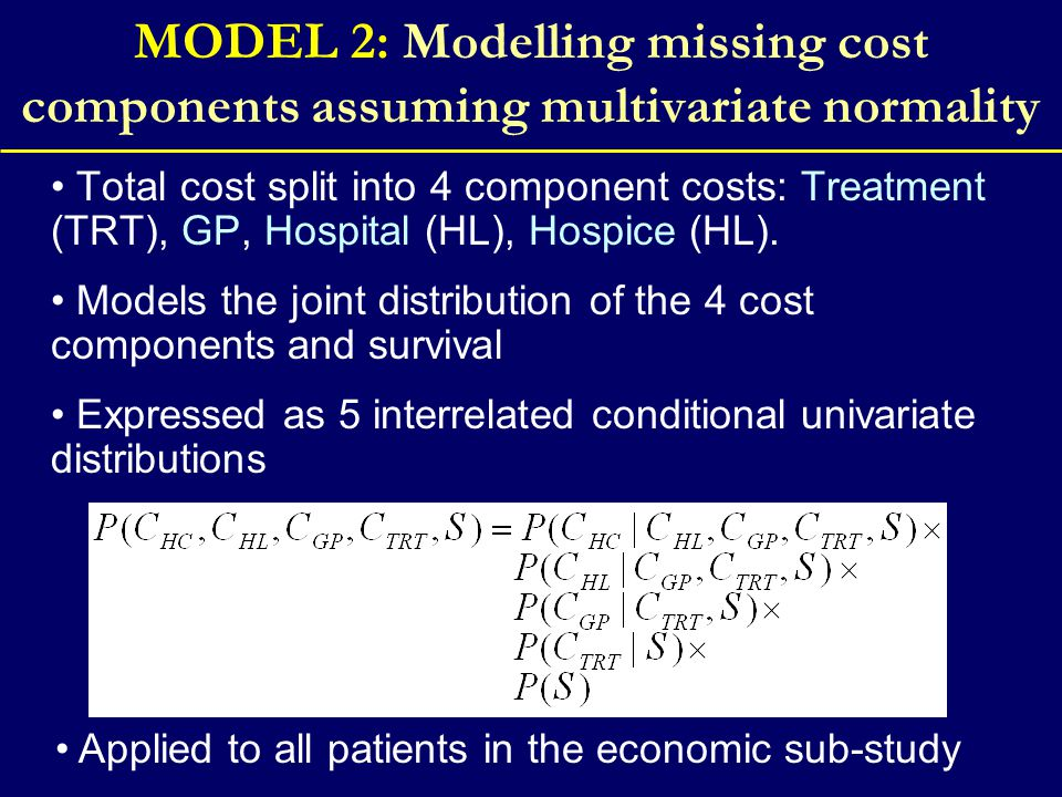 MODEL 2: Modelling missing cost components assuming multivariate normality Total cost split into 4 component costs: Treatment (TRT), GP, Hospital (HL), Hospice (HL).