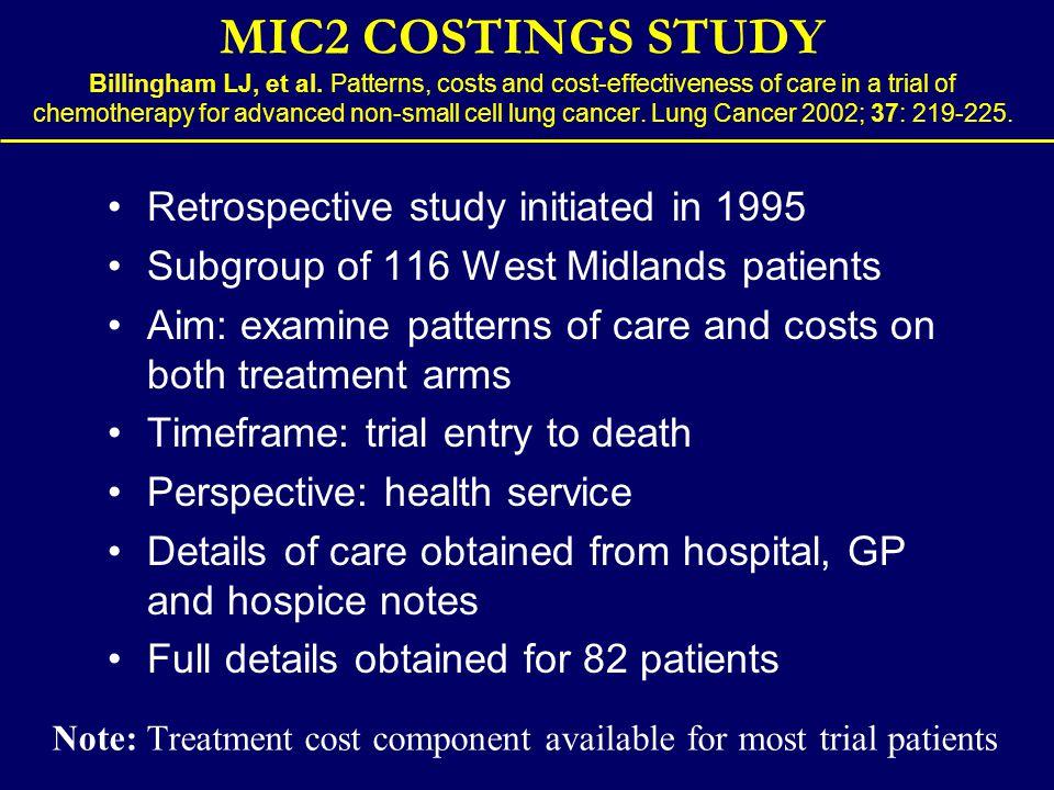 MIC2 COSTINGS STUDY Billingham LJ, et al.
