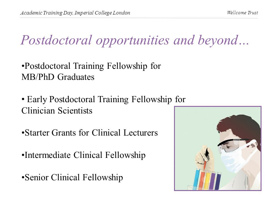 Postdoctoral opportunities and beyond… Academic Training Day, Imperial College London Wellcome Trust Postdoctoral Training Fellowship for MB/PhD Graduates Early Postdoctoral Training Fellowship for Clinician Scientists Starter Grants for Clinical Lecturers Intermediate Clinical Fellowship Senior Clinical Fellowship
