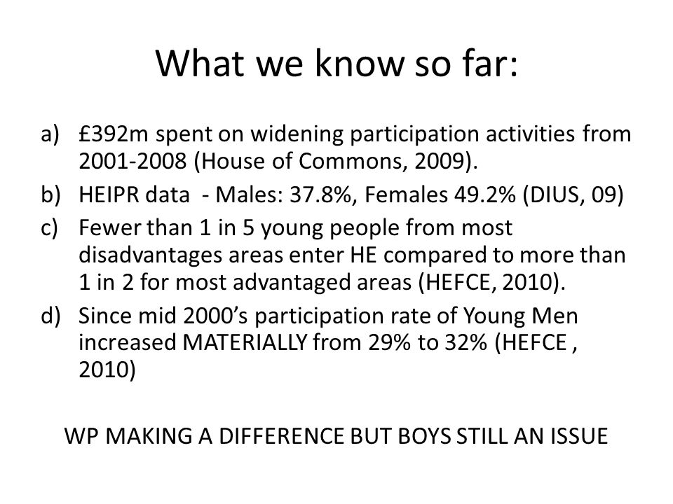 What we know so far: a)£392m spent on widening participation activities from 2001-2008 (House of Commons, 2009).