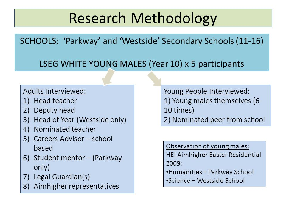Research Methodology SCHOOLS: 'Parkway' and 'Westside' Secondary Schools (11-16) LSEG WHITE YOUNG MALES (Year 10) x 5 participants Adults Interviewed: 1)Head teacher 2)Deputy head 3)Head of Year (Westside only) 4)Nominated teacher 5)Careers Advisor – school based 6)Student mentor – (Parkway only) 7)Legal Guardian(s) 8)Aimhigher representatives Young People Interviewed: 1) Young males themselves (6- 10 times) 2) Nominated peer from school Observation of young males: HEI Aimhigher Easter Residential 2009: Humanities – Parkway School Science – Westside School