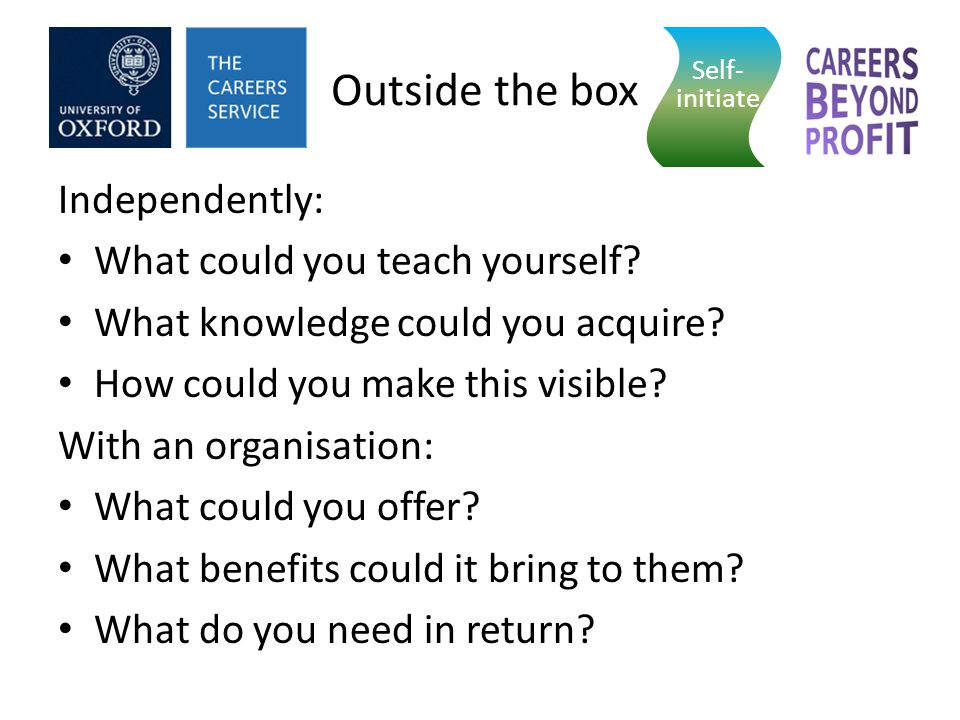Outside the box Independently: What could you teach yourself.