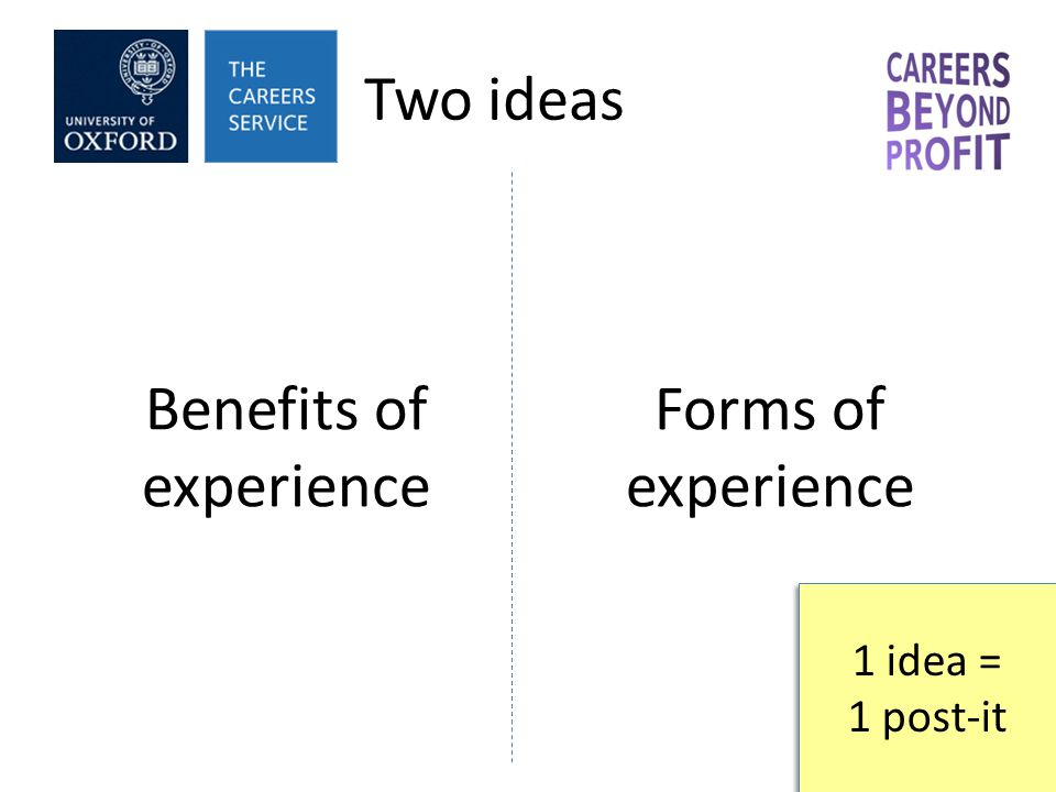 Two ideas Benefits of experience Forms of experience 1 idea = 1 post-it