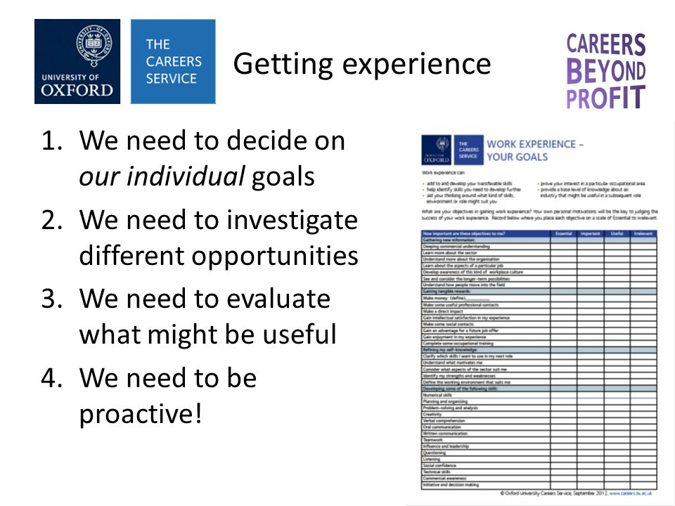 Getting experience 1.We need to decide on our individual goals 2.We need to investigate different opportunities 3.We need to evaluate what might be useful 4.We need to be proactive!