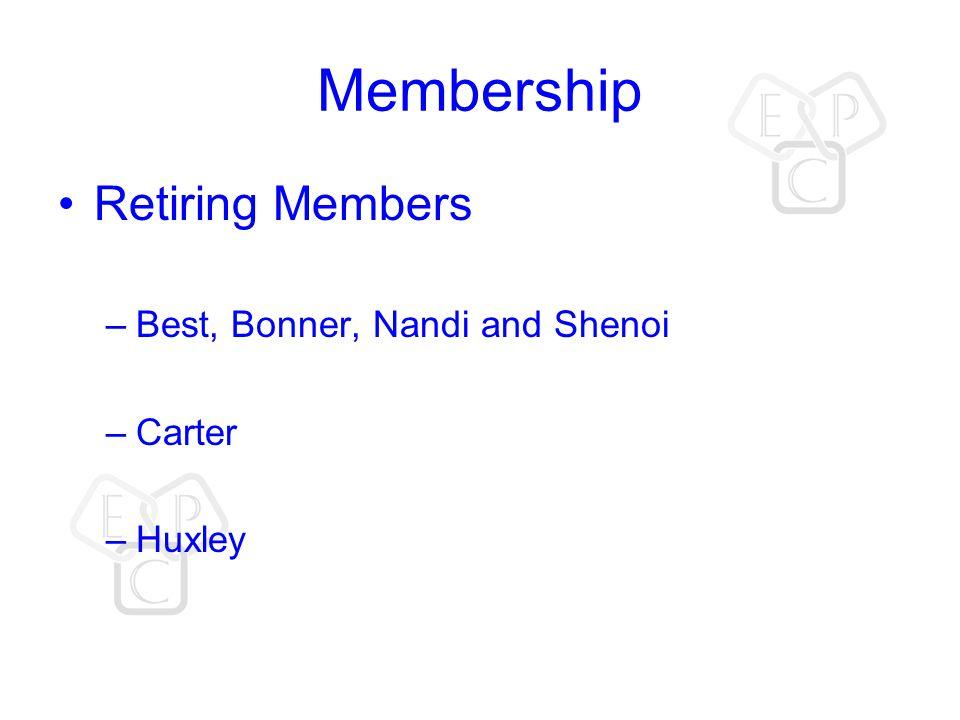 Membership Retiring Members –Best, Bonner, Nandi and Shenoi –Carter –Huxley