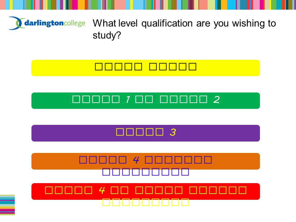 What level qualification are you wishing to study.