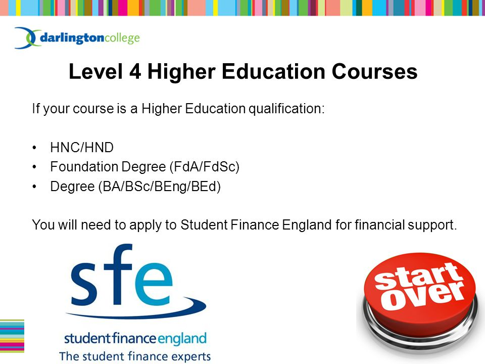 If your course is a Higher Education qualification: HNC/HND Foundation Degree (FdA/FdSc) Degree (BA/BSc/BEng/BEd) You will need to apply to Student Finance England for financial support.