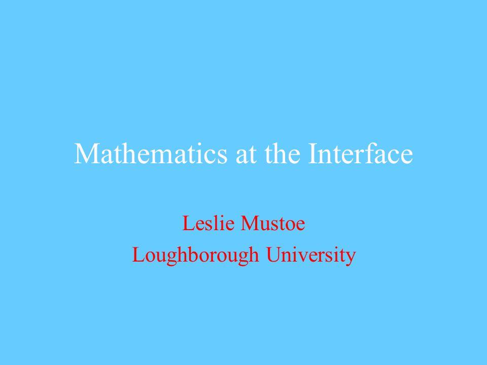 Mathematics at the Interface Leslie Mustoe Loughborough University