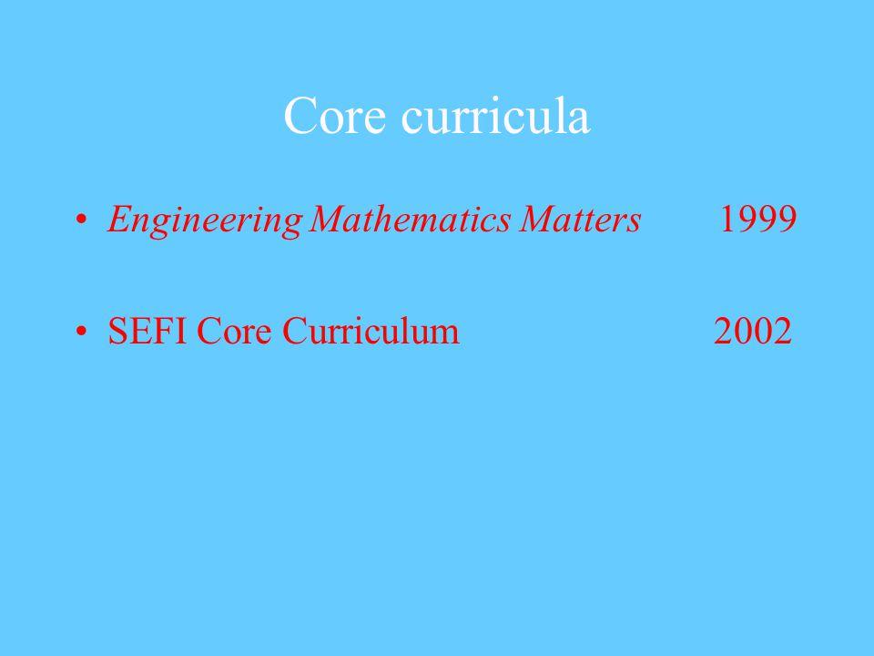 Core curricula Engineering Mathematics Matters 1999 SEFI Core Curriculum 2002