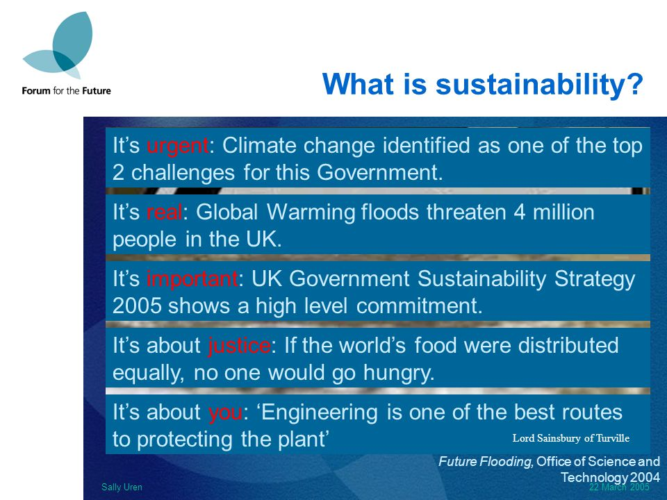 Sally Uren22 March 2005 What is sustainability.