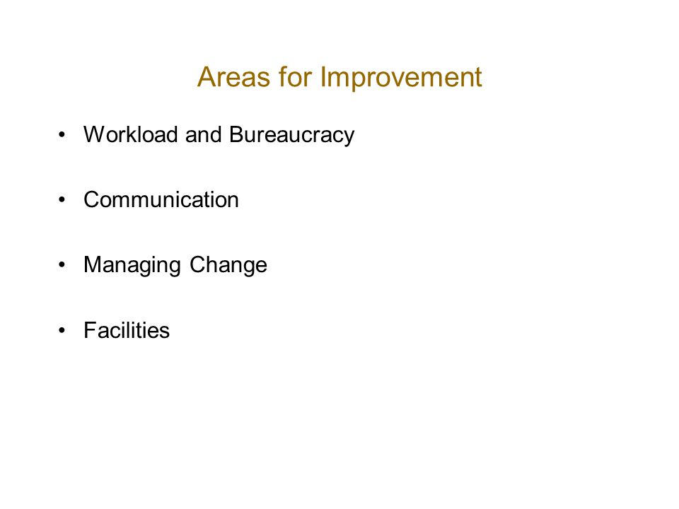 Areas for Improvement Workload and Bureaucracy Communication Managing Change Facilities
