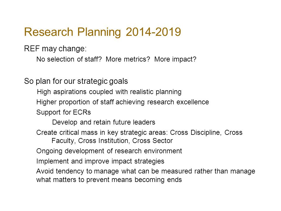 Research Planning REF may change: No selection of staff.