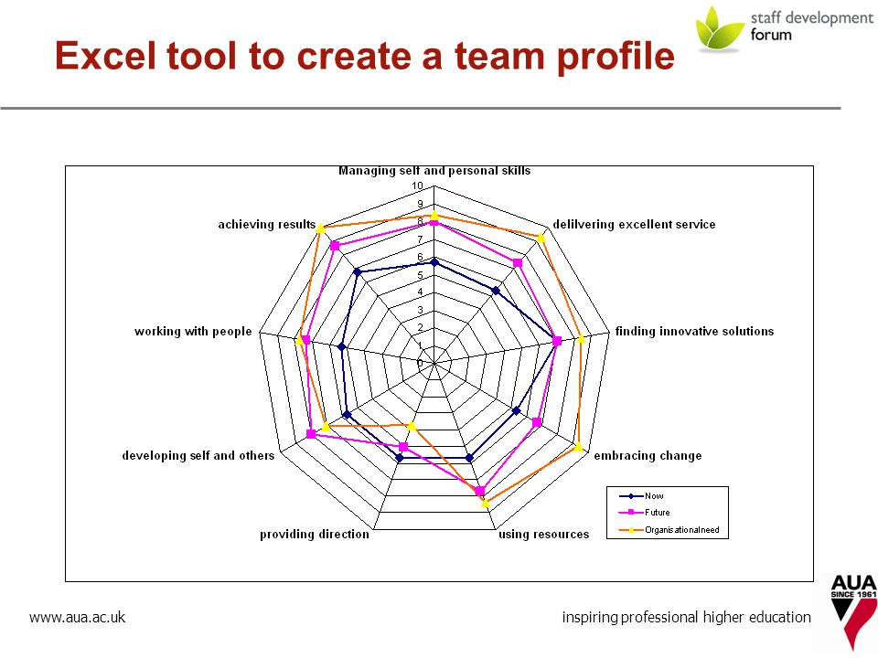 inspiring professional higher education Excel tool to create a team profile