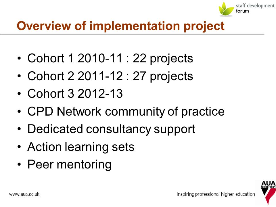 inspiring professional higher education Overview of implementation project Cohort : 22 projects Cohort : 27 projects Cohort CPD Network community of practice Dedicated consultancy support Action learning sets Peer mentoring