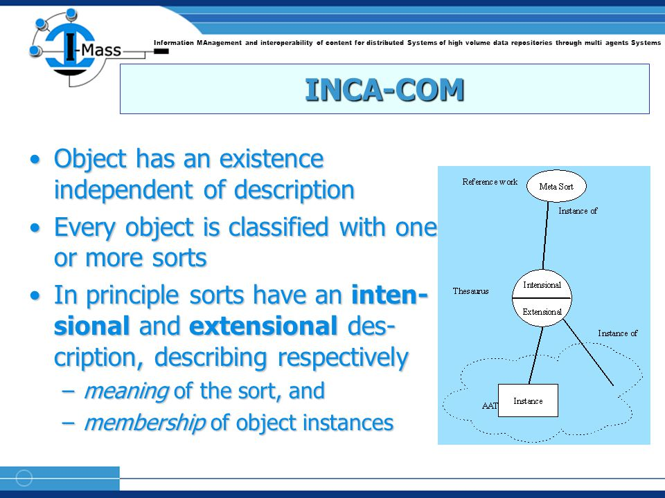 Information MAnagement and interoperability of content for distributed Systems of high volume data repositories through multi agents Systems INCA-COM Object has an existence independent of descriptionObject has an existence independent of description Every object is classified with one or more sortsEvery object is classified with one or more sorts In principle sorts have an inten- sional and extensional des- cription, describing respectivelyIn principle sorts have an inten- sional and extensional des- cription, describing respectively –meaning of the sort, and –membership of object instances