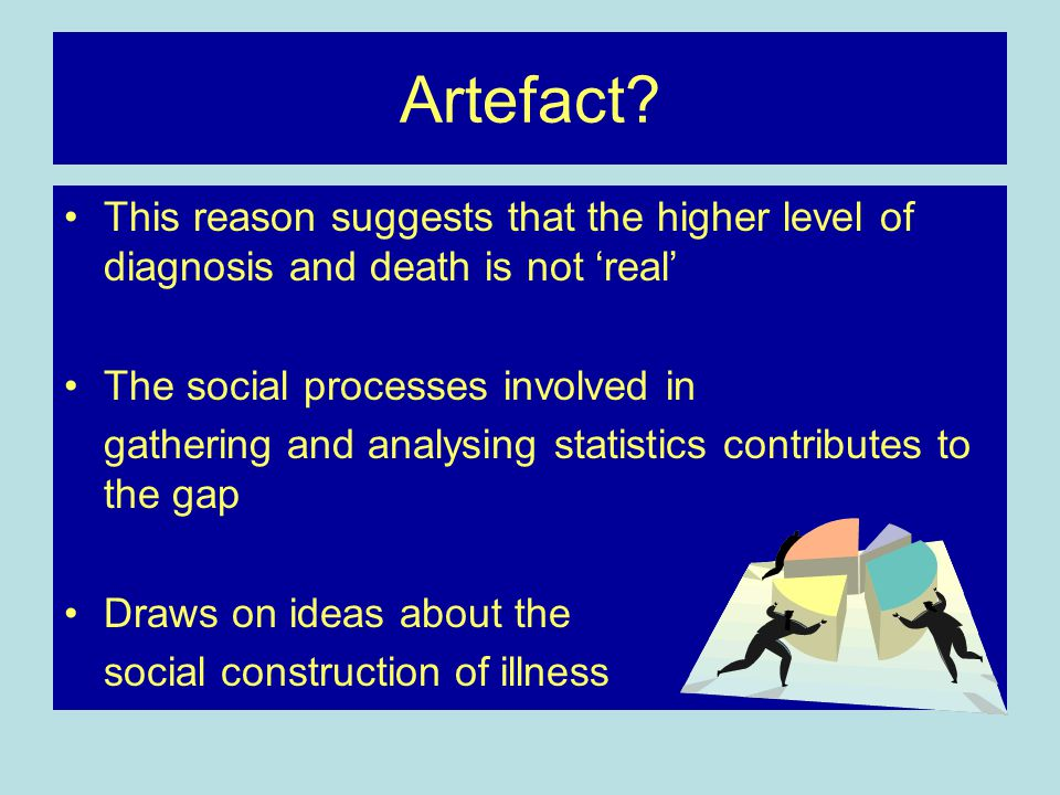 Artefact? This reason suggests that the higher level of diagnosis and death is not 'real' The social processes involved in gathering and analysing sta
