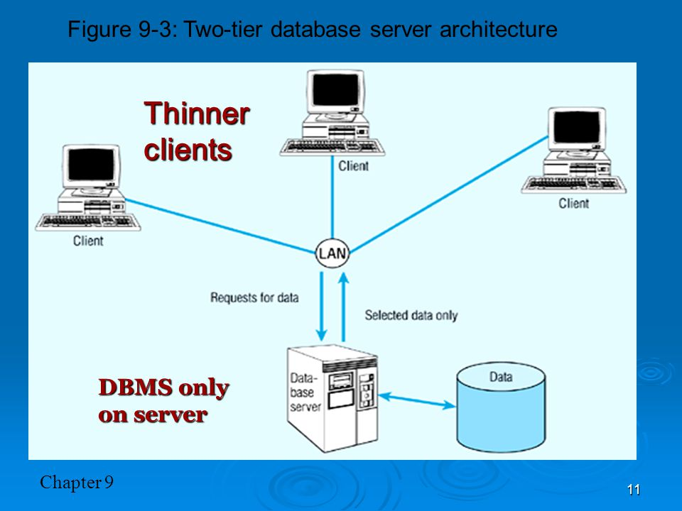 Chapter 9 11 Figure 9-3: Two-tier database server architecture Thinner clients DBMS only on server