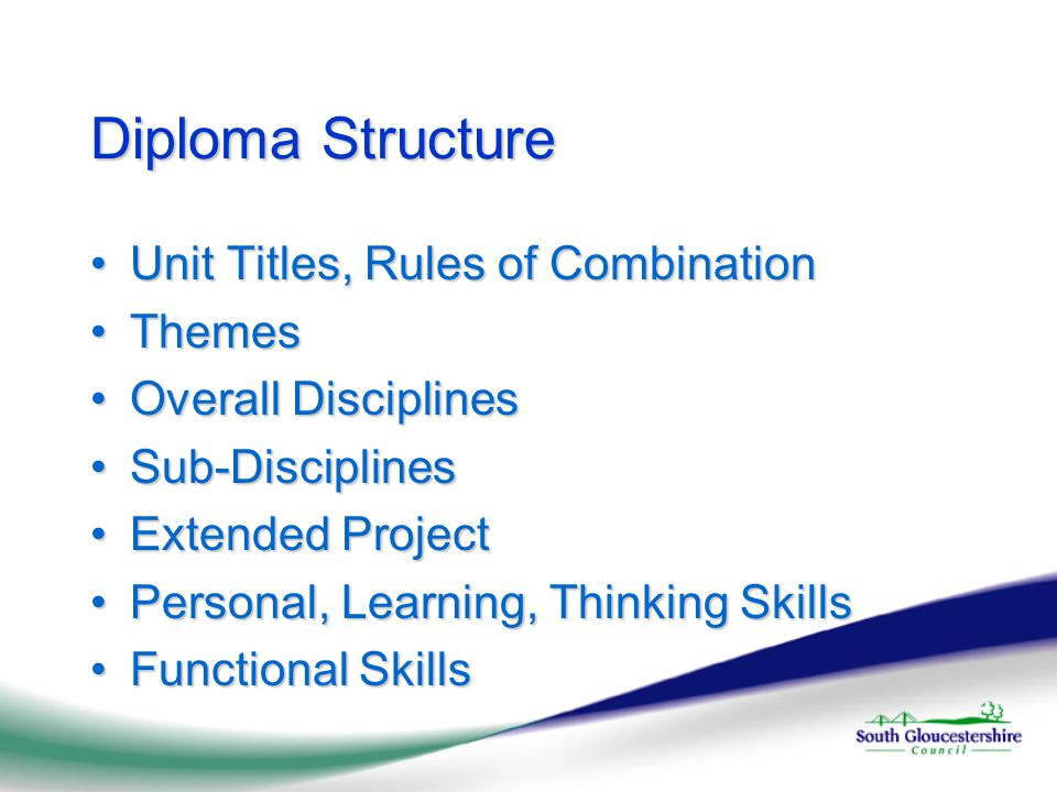 Diploma Structure Unit Titles, Rules of CombinationUnit Titles, Rules of Combination ThemesThemes Overall DisciplinesOverall Disciplines Sub-DisciplinesSub-Disciplines Extended ProjectExtended Project Personal, Learning, Thinking SkillsPersonal, Learning, Thinking Skills Functional SkillsFunctional Skills