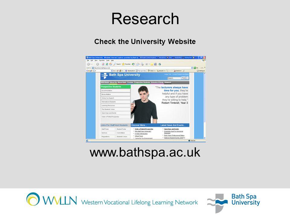 Research www.bathspampa.com www.artbathspa.com Check the School or Course Website