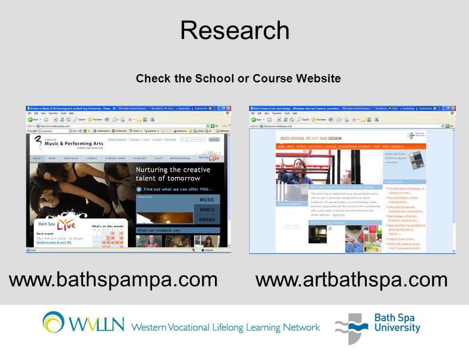 Research     Check the School or Course Website