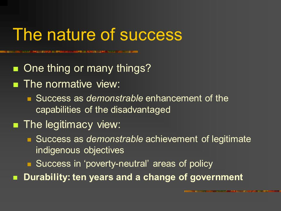 The nature of success One thing or many things.