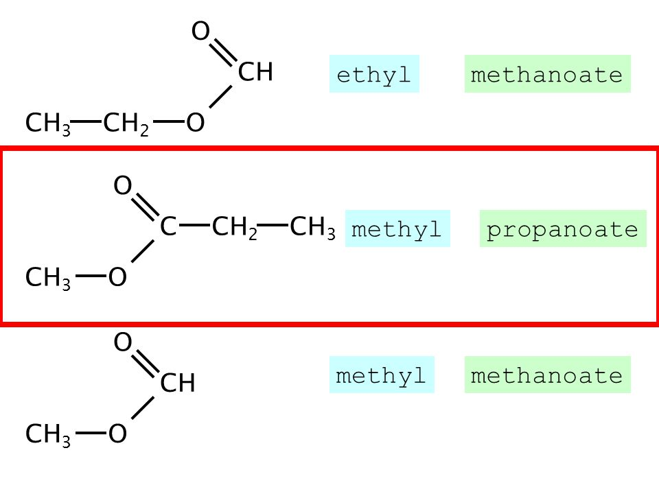 CH 3 CH CH 2 O O CH 3 CH 2 C CH 3 O O CH CH 3 O O ethylmethanoate methylpropanoate methylmethanoate