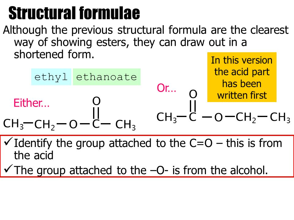 Structural formulae Although the previous structural formula are the clearest way of showing esters, they can draw out in a shortened form.