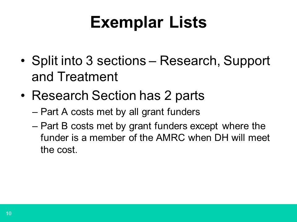 10 Exemplar Lists Split into 3 sections – Research, Support and Treatment Research Section has 2 parts –Part A costs met by all grant funders –Part B