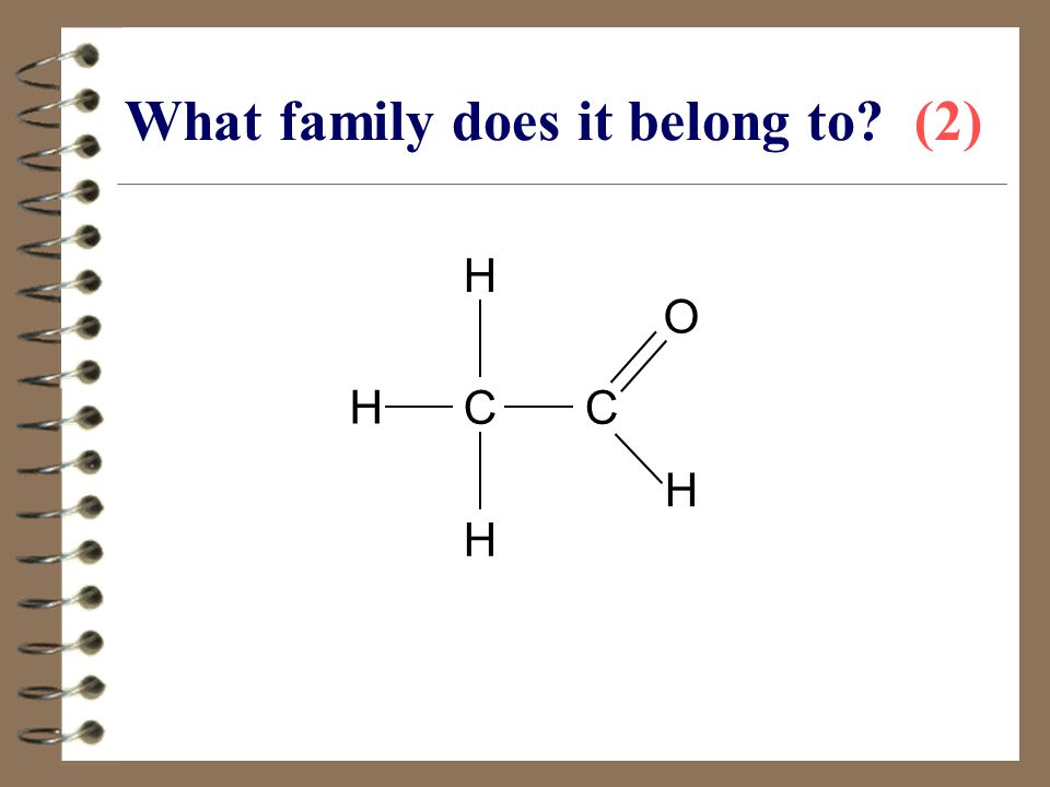 What family does it belong to? (2) CC H H O H H