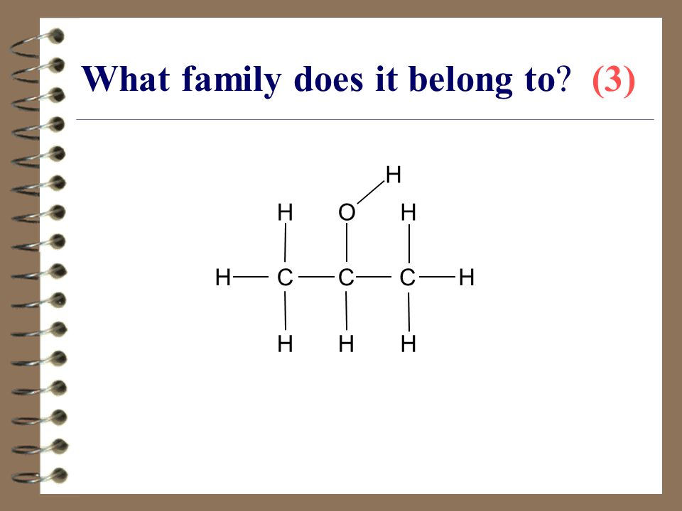 What family does it belong to? (3) CC HO H HH HC H H H