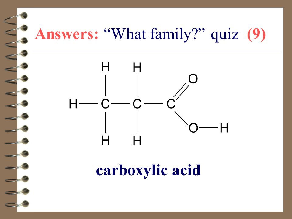 "Answers: ""What family?"" quiz (9) carboxylic acid CC H C O O H H H H H"