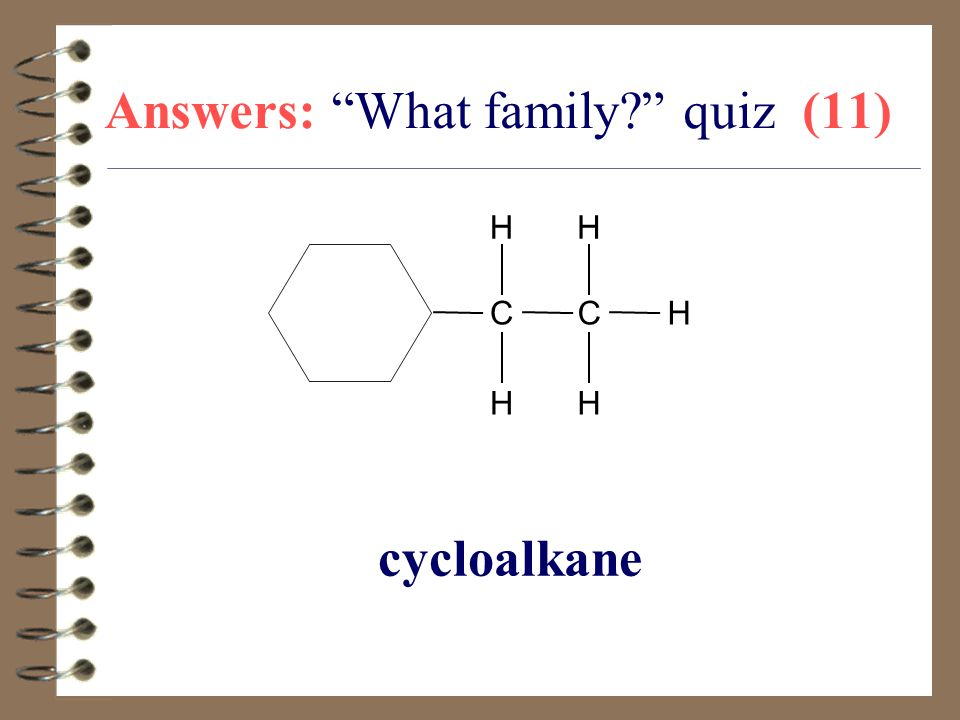 "Answers: ""What family?"" quiz (11) cycloalkane CC H H H H H"