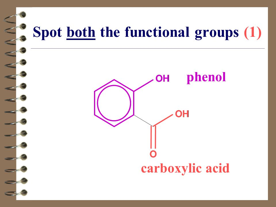 Spot both the functional groups (1) OH O phenol OH O carboxylic acid