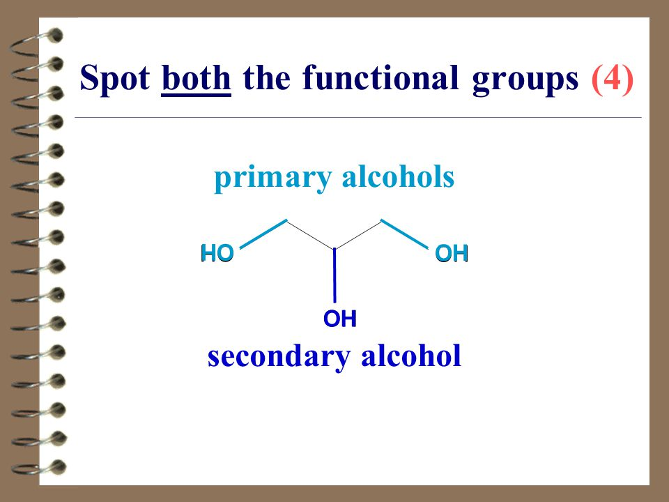 OH Spot both the functional groups (4) OH primary alcohols secondary alcohol