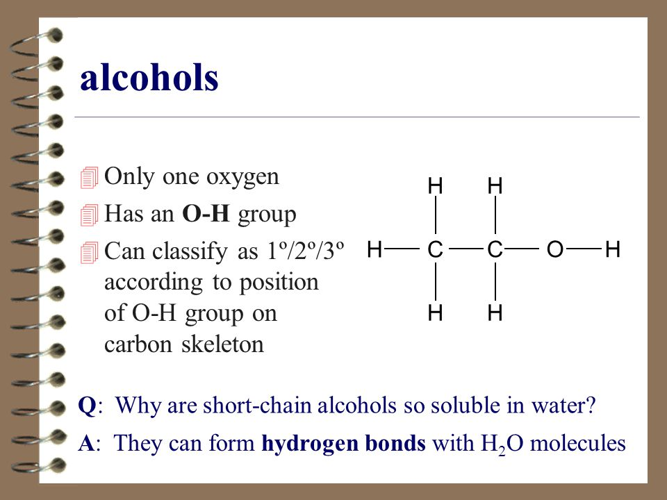 Answers: What family? quiz (3) secondary alcohol CC HO H HH HC H H H