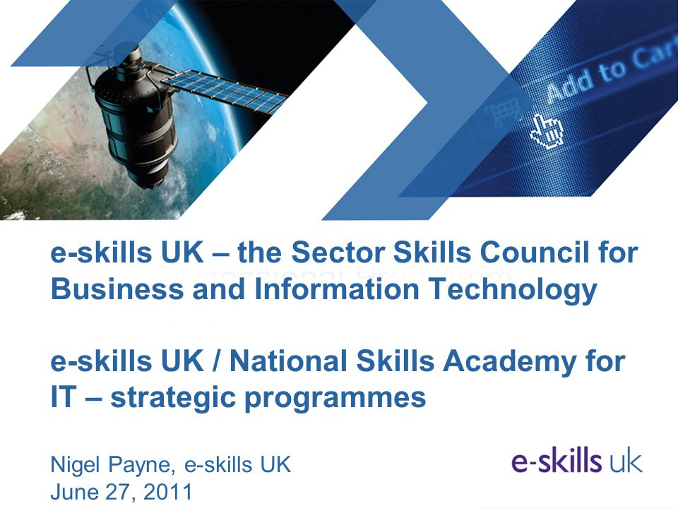 e-skills UK – the Sector Skills Council for Business and Information Technology e-skills UK / National Skills Academy for IT – strategic programmes Nigel Payne, e-skills UK June 27, 2011