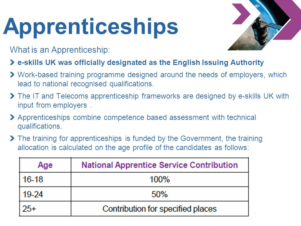 Apprenticeships What is an Apprenticeship: e-skills UK was officially designated as the English Issuing Authority Work-based training programme design