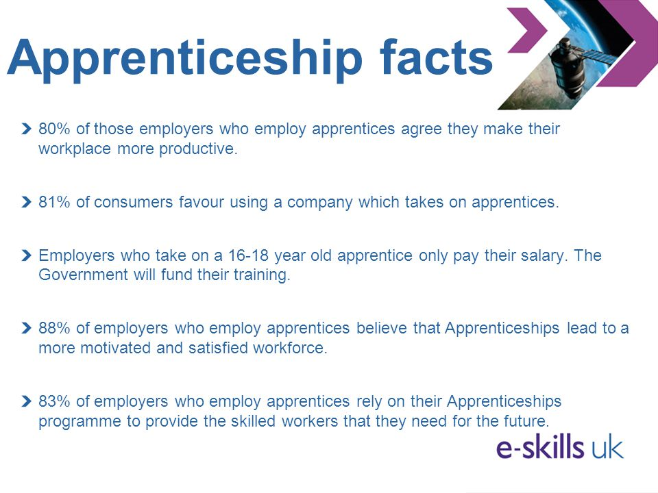 Apprenticeship facts 80% of those employers who employ apprentices agree they make their workplace more productive. 81% of consumers favour using a co