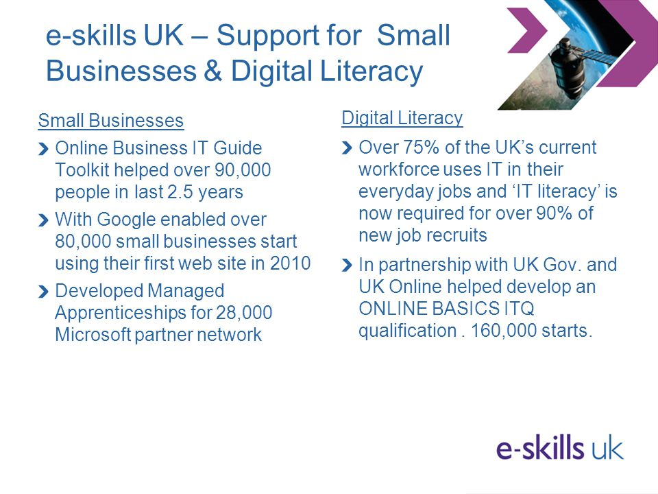 e-skills UK – Support for Small Businesses & Digital Literacy Small Businesses Online Business IT Guide Toolkit helped over 90,000 people in last 2.5