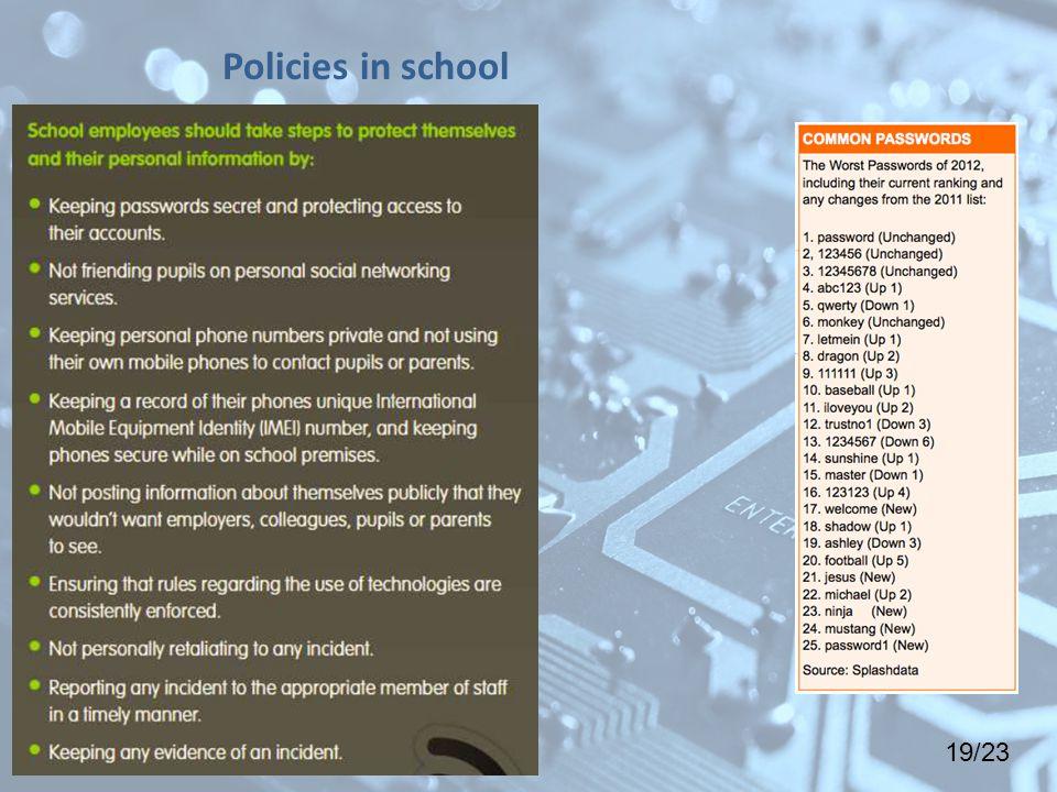 19/23 Policies in school