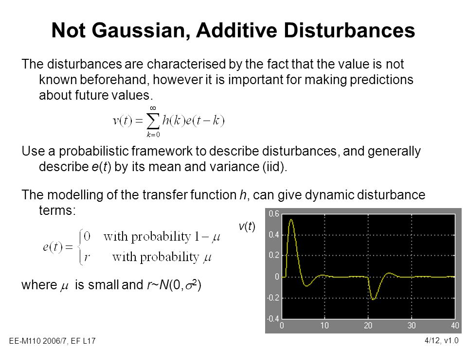 EE-M110 2006/7, EF L17 4/12, v1.0 Not Gaussian, Additive Disturbances The disturbances are characterised by the fact that the value is not known beforehand, however it is important for making predictions about future values.