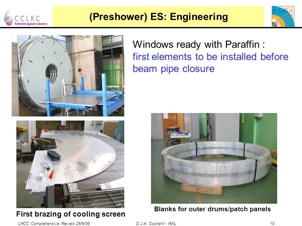 LHCC Comprehensive Review 26/6/06 D.J.A. Cockerill - RAL 10 (Preshower) ES: Engineering Windows ready with Paraffin : first elements to be installed b