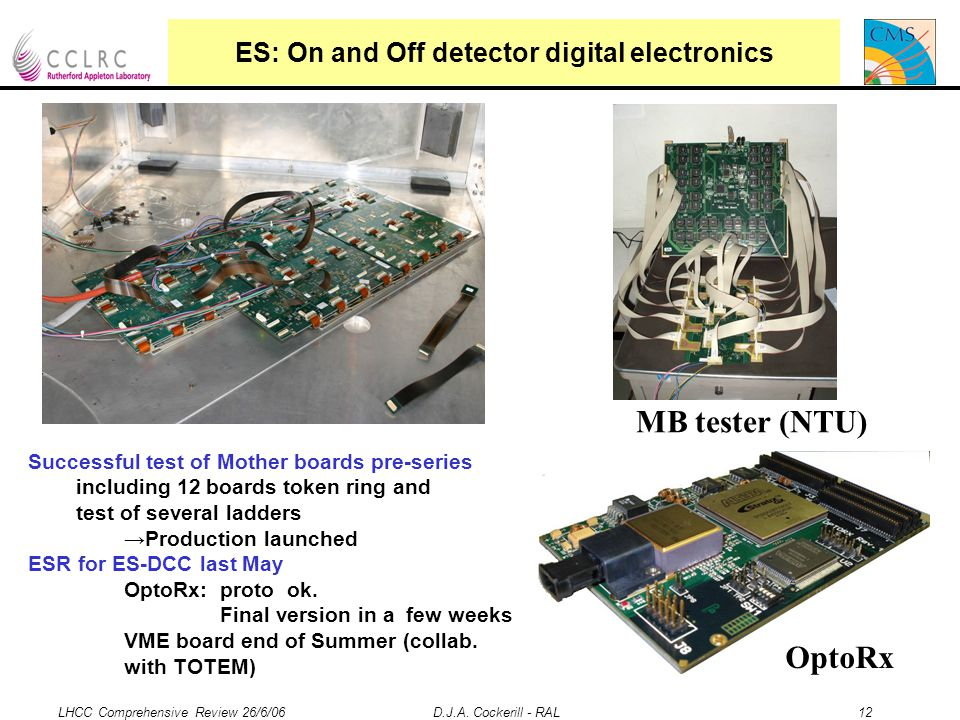 LHCC Comprehensive Review 26/6/06 D.J.A. Cockerill - RAL 12 ES: On and Off detector digital electronics Successful test of Mother boards pre-series in